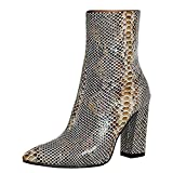 Lydee Mujer Moda Botines Chelsea Botas Bajas Tacon Ancho Slip on Botas Media Animal Print Dress Boots Party Zapatos Snake SeWeZon Size 37
