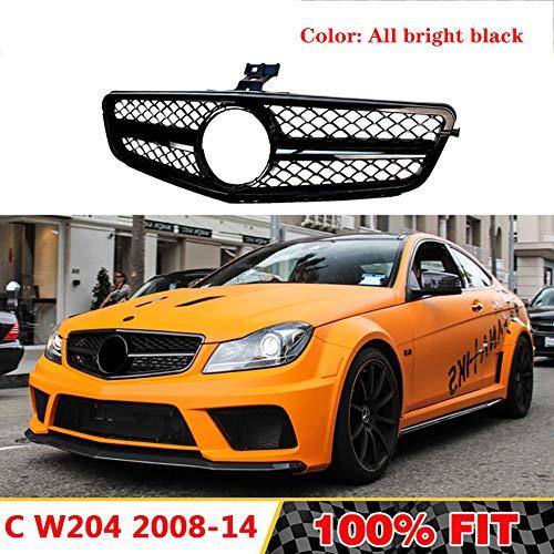 LSYBB Parrilla Delantera Adecuado para Mercedes Clase C W204 C63 C180 C250 C300 C200 amg Estilo ABS Rejilla de Parachoques Delantero 2008-2014 Sin Emblema,brightblack