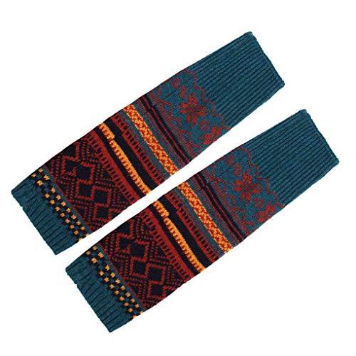 PRENKIN Copertura del Piede Crochet di Inverno delle Donne Scaldamuscoli a trecce in Maglia Lungo Boot Socks Bohemia