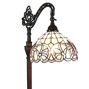 Amora Lighting AM283FL12 Tiffany Style Floral Design Floor Reading Lamp