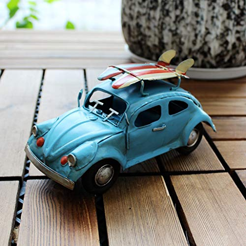 HLQW estilo americano retro azul clásico modelo de coche creativo accesorios de coche hechos a mano modelo adornos