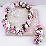 Ljourney Fleurs Artificielles Couronne Femmes avec des Guirlandes Réglables,Bandeau Cheveux de Mariage Floral Couronne
