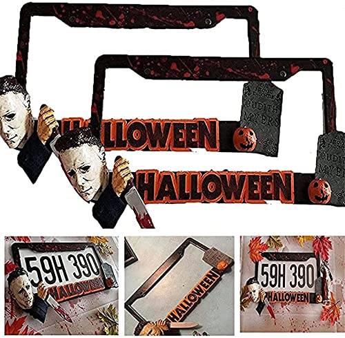 Halloween Michael Myers Marco de placa de matrícula Impermeable Acero inoxidable Calabaza Accesorios de automóvil Marco de matrícula personalizado, un gran regalo para los amantes del terror (2 pcs)