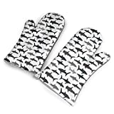 Sharks Nautical Boys Oven Mitts Non-Slip Heat Resistant Soft Cotton Lining Kitchen Gloves for Cooking Baking BBQ