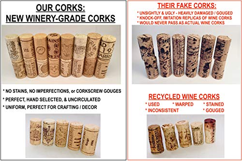 Wine Corks, SUPREMA Grade, New Authentic All Natural, Premium Printed Winery-Marked, Craft Grade Cork, Uncirculated, Uniform & Clean, DIY Crafting, Agglomerated & Natural Never Used/Recycled