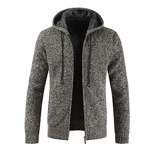 Xmiral Herren Stricken Jacke Mantel Lässige Zipper Kordelzug Hoodie Outwear Pullover (XXL,Dunkegrau)