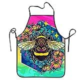 IUBBKI Delantal de Cocina para Mujeres y Hombres Delantal con Babero de poliéster Resistente al Agua Púrpura Taco Bell Babero Negro para Dibujar al Aire Libre, B