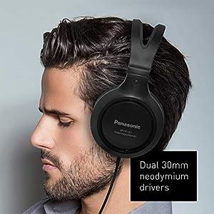 Panasonic Headphones RP-HT161-K Full-Sized Over-the-Ear Lightweight Long-Corded (Black)