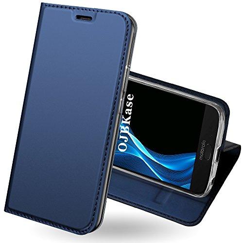 OJBKase Moto G6 Hülle, Premium Slim PU Leder Handy Schutzhülle [Standfunktion] Hülle/Cover/Brieftasche/Ledertasche Bookstyle Tasche Lederhülle Handyhülle für Motorola Moto G6 (Blau)