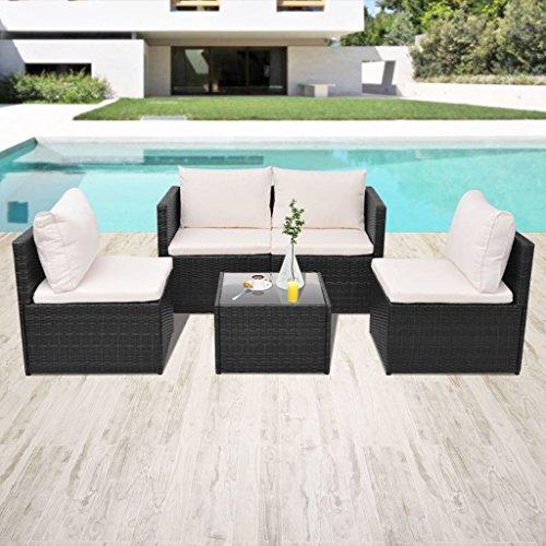 lingjiushopping Ensemble canapés de jardin 13 pièces en polyrotin modulaire Noir Couleur du coussin : Blanc crème Ensemble de meubles d'extérieur
