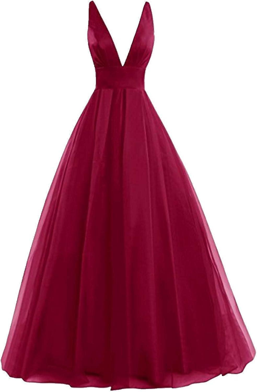 FWVR Long Tulle Evening Dresses for Women Formal V Neck Prom Dress Plus Size