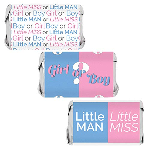 Baby Gender Reveal Party Miniatures Candy Bar Wrapper Stickers, 54 Count