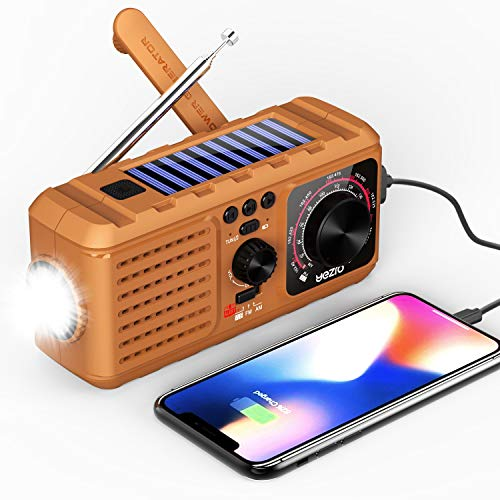 weather radio for kids Emergency Weather Radio,Crank Solar NOAA/AM/FM Portable Radio with MP3 Player,LED Flashlight, Cellphone Charger, 2200mAh Power Bank, Automatic Alert for Hurricane,Home, Camping&Survival