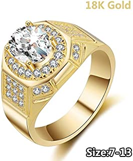 Digital baby Jewelry 18k Gold Rings for Men AAA Cubic Zirconia Diamond Engagement Wedding Mens Ring(Gold,13)