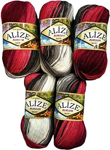 Alize Burcum Batik - Gomitolo di lana, 5 x 100 g, diversi colori, 500 g