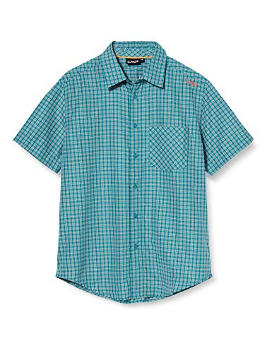 CMP Short-Sleeved Shirt with Pocket Chemise Homme, Blue Teal-Cement, 58