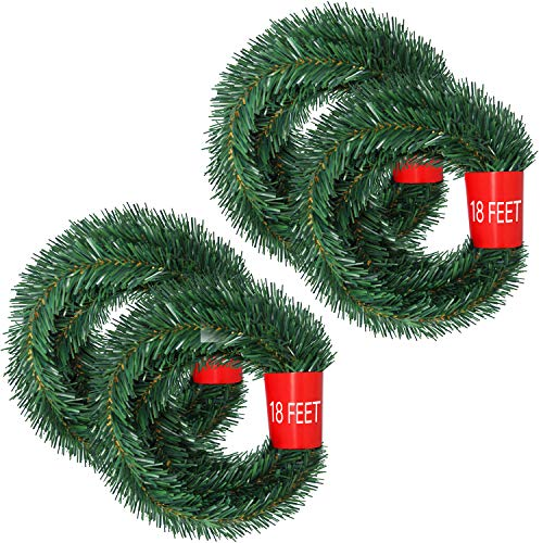 Lvyleaf 72 Feet Christmas Garland, 4 Strands Artificial Pine Garland Soft Greenery Garland for Holiday Wedding Party Decoration, Outdoor/Indoor Use
