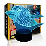 KangYD 3D Night Light Flying Fat Dolphin, lámpara LED cálida, regalo para niños, A - Touch negra Base (7 colores), Regalo de San Valentín, Regalo para niño, Lámpara de mesa