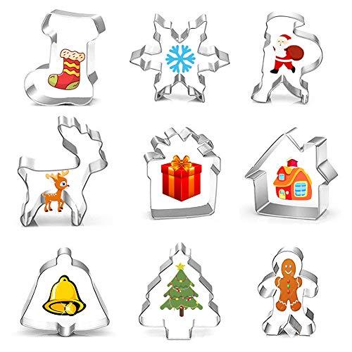 Ausstechformen Weihnachten Ausstecher Set 9 Stück, Plätzchenformen Keksausstecher aus Edelstahl, Keksschneider Set für Keks, Backen Fondant, Tortendekorationen