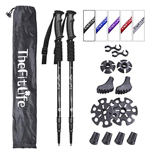 TheFitLife Nordic Walking Trekking Poles - 2 Pack with Antishock and Quick Lock System, Telescopic, Collapsible, Ultralight for Hiking, Camping, Mountaining, Backpacking, Walking, Trekking (Black)