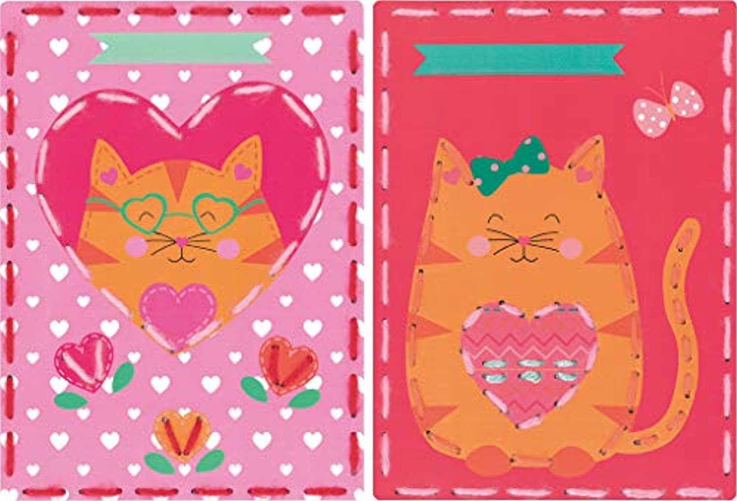 Vervaco Kits 4 Kids Cat & Panda Embroidery Cards Kit (Set of 2), 7.25