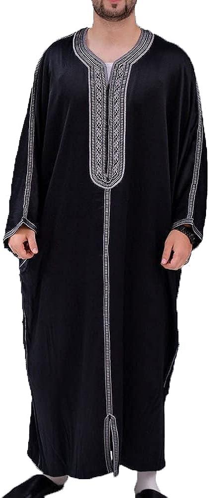 CHUANGFU Men's Robes, Ethnic Robes, Cotton Linen, V-Neck Arabian Pajamas, Indian Muslim Men's Shirts, Long Bathrobes