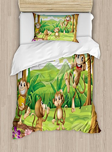 Ambesonne Tropical Duvet Cover Set, Whimsical Digital Dot Featured Fun Monkey Face Portrait Little Geometrical Rounds Art Print, Decorative 2 Piece Bedding Set with 1 Pillow Sham, Twin Size, Brown Tan