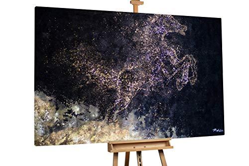 KunstLoft® XXL Gemälde 'Zauber der Nacht' 180x120cm | original handgemalte Bilder | Pferd Gold Schwarz Blau | Leinwand-Bild Ölgemälde einteilig groß | Modernes Kunst Ölbild