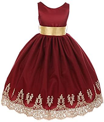 Little Girls Sleeveless Lace Embroider Party Holiday Dressy Flower Girl Dress