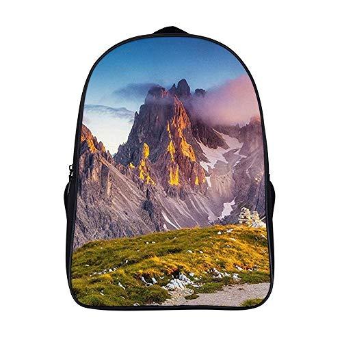 XIAHAILE Kompakte Rucksack Büchertasche für Männer und Frauen, leichter Rucksack für Schul und Urlaubsreisen,Tirol Italien