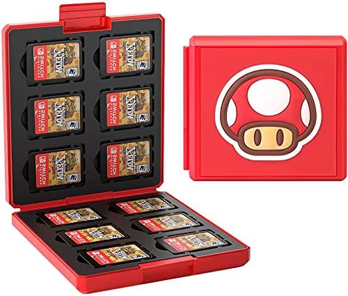 JINGDU Estuche de Tarjetas de Juego para Nintendo Switch Estuche Protector a Prueba de Golpes con 12 Ranuras para Cartuchos para Switch NS NX (Champiñón)