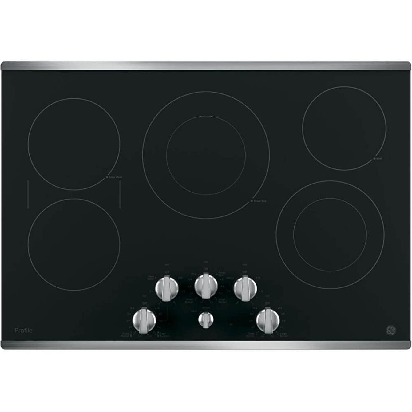 GE PP7030SJSS 30 Inch Electric Cooktop with 5 Radiant, Bridge SyncBurners, 9/6 Inch Power Boil Element, Keep Warm Setting, Red LED Backlit Knobs, ADA Compliant Fits Guarantee