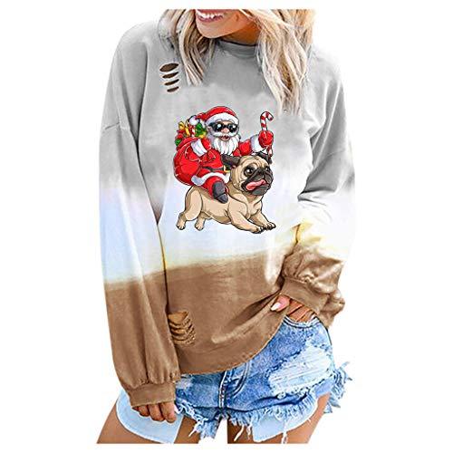 Langarmshirt Damen Pullover Sweatshirt Pullover Bluse Shirt Übergrößen Tops Modischer Gradual mit Weihnachtsmann Druck (XL,9- Khaki)