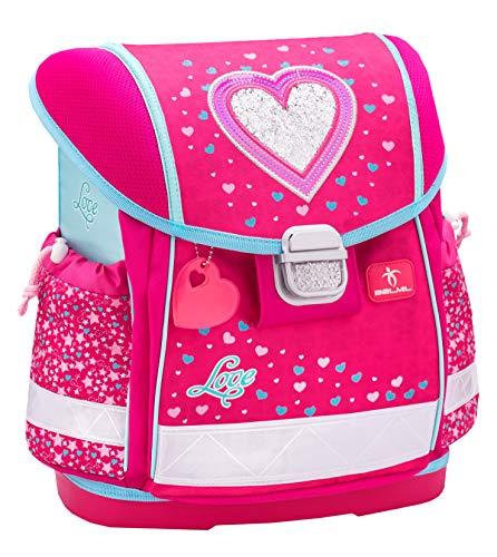 Belmil Ergonomische Schulranzen Mädchen 1. klasse 2. klasse 3. klasse - Super Leicht 900-960 g/Grundschule/Herz Heart/Pink, Rosa (403-13 Heart)