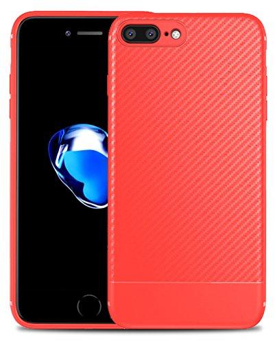ZSCHAO Funda iPhone 8 Plus iPhone 7 Plus Fibra de Carbono + Cristal Templado, Carcasa Slim Fit TPU Silicona Funda antigolpes Anti-Huella Case Cover Ultrafina Bumper para Apple iPhone 8/7 Plus(Rojo)