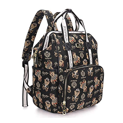 Pipi bear Diaper Bag Backpack,Stylish Cartoon Jacquard Baby Multifunction Travel Back Pack Large Maternity Nappy Bag for Mom and Dad (Black)