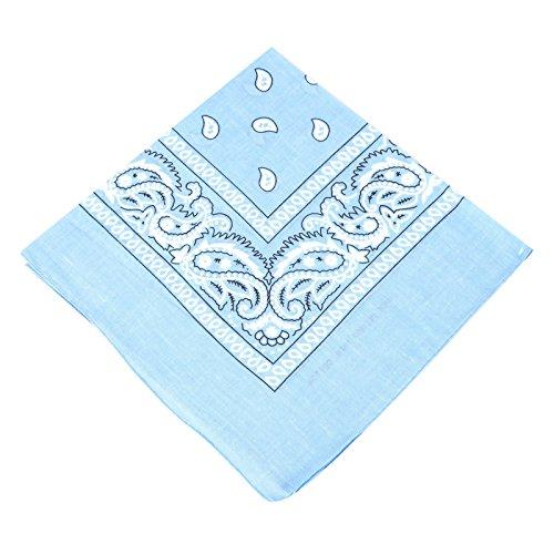 Boolavard Bandana Kopftuch Halstuch - gemustert: Paisley Muster - 100% Baumwolle! (Baby Blau)