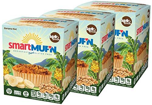 Smart Baking Company Smartmuf'n, Gluten-free, Sugar-free Keto Snack Breakfast Muffin (Banana Nut, 3 Boxes)