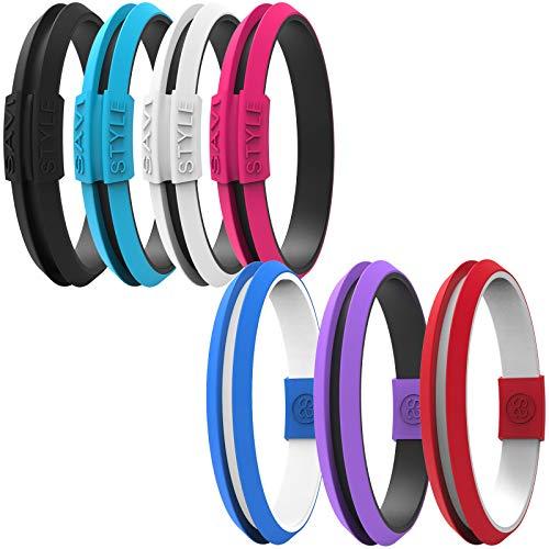 Silicone Sportswear Hair Tie Bracelet Ponytail Holder (Large Agile Black)