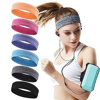 QiShang 6Pack Workout Sport Headbands for Women,Sweatbands for Women Head,Yoga Running Headbands for Women,Hair Bands for Women s Hair Non Slip