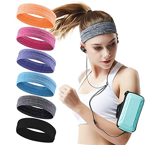 QiShang 6Pack Workout Sport Headbands for Women,Sweatbands for Women Head,Yoga Running Headbands for Women,Hair Bands for Women's Hair Non Slip