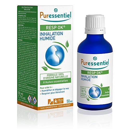 Puressentiel - Resp OK - Inhalation Humide aux 8 Huiles Essentielles - Aide à respirer plus librement - Formule 100% d'origine naturelle - 50 ml