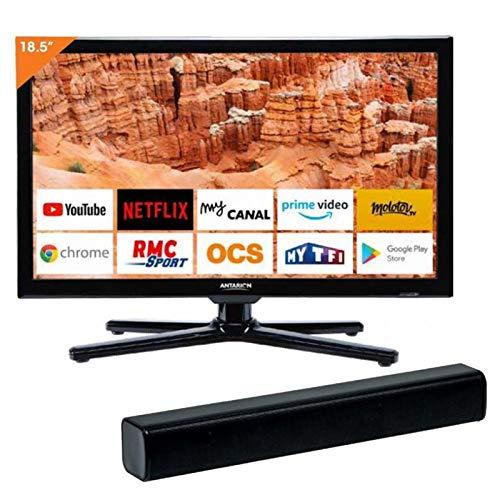 ANTARION Pack TV 19' (48CM) Bluetooth Connect Netflix 12V Camping Car + Barre de Son