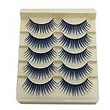 Acamifashion Fashion Colored Natural False Eyelashes Blue-Purple-Black-Red-Brown False Eyelashes Long Natural Lashes Extension for Stage Blue