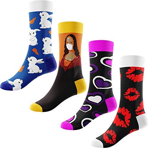 Granny Socks Bunte Lustige Socken Damen Set aus 4 Paar bunte Socken, witzige Damen Socken, verschiedene Muster Größe 36 bis 42 (36/39)