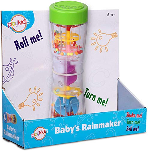 "Dress Up America- Playkidz-Juguete Rainmaker de 8.5""para bebés pequeños, Tubo sonajero de Lluvia para niños agitador de Palo sensorial Musical. (Baby Toys)"