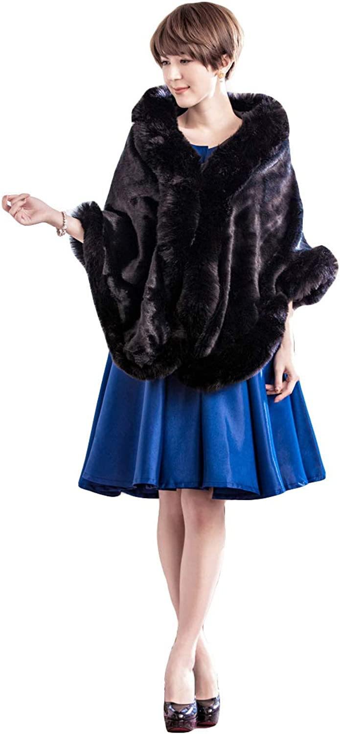 Fenghuavip Faux Fur Wedding Cloak Thicken Winter Gifts Shawl Capes Rabbit Fox Fur