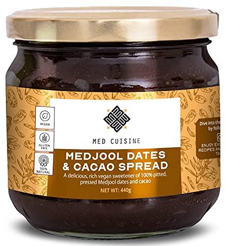 Pasta de dátiles Med Cuisine con cacao (440GR) - un rico edulcorante natural hecho de dátiles deshuesados y prensados: vegano, vegetal, sin conservantes, kosher
