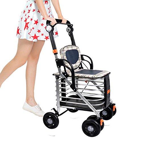 MXXYY Lightweight Aluminum alloy Foldable Portable Trolley 4 Wheel Shopping Cart / Elderly Walker with Double Brake