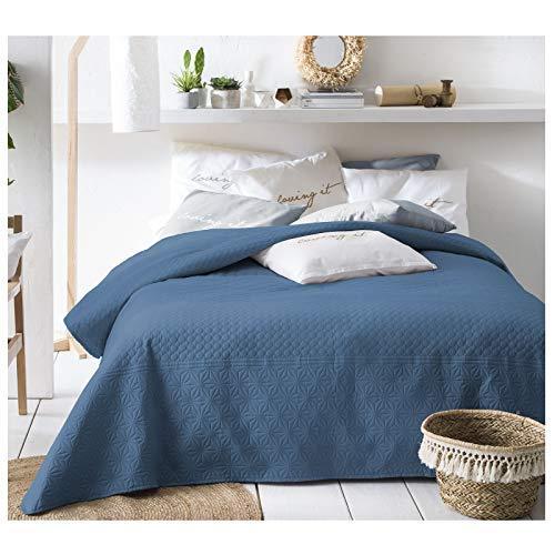 JEMIDI Bett und Sofaüberwurf XL Doppelbett gesteppt 220 x 240 Tagesdecke Überwurf Husse Decke XXL Tagesdecken Steppdecke gesteppt (Blau)